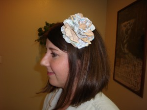 Made from a map, this flower was hotglued onto a plastic headband.