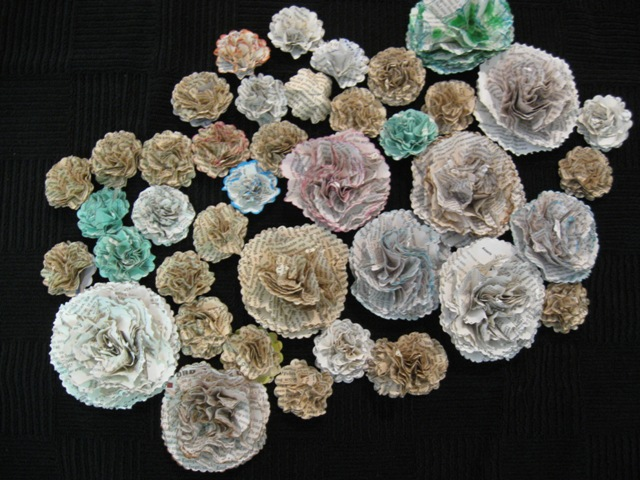 Many recycled flowers have color from charts or even highlighting in textbooks.